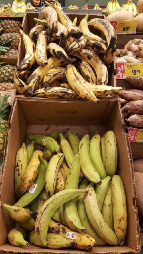 Yellow and Green Plantains in Boxes