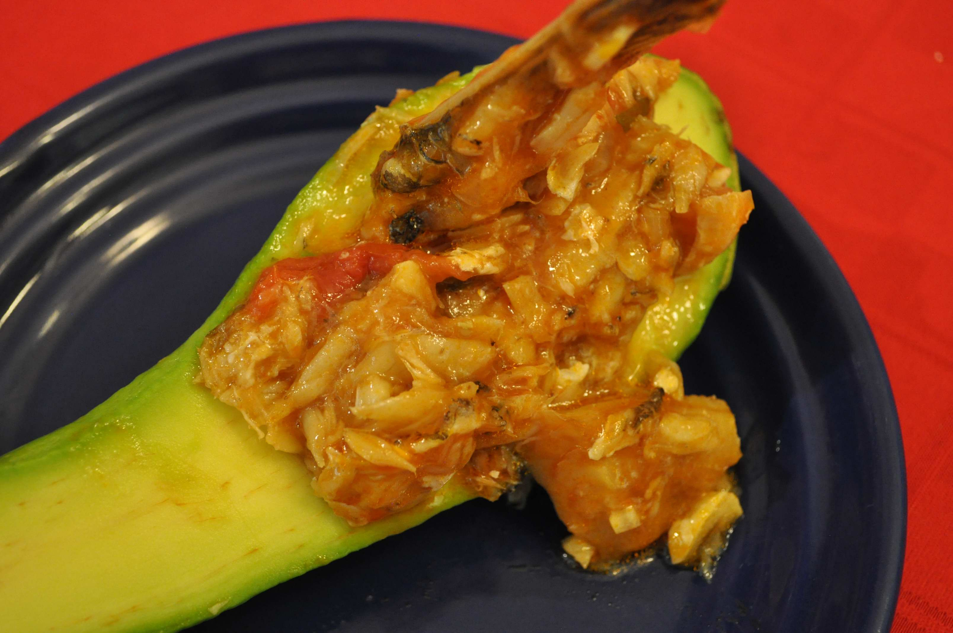 stuffed avocado with basque style cod fish