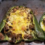 Stuffed Poblano Pepper with Shredded Cheese on top